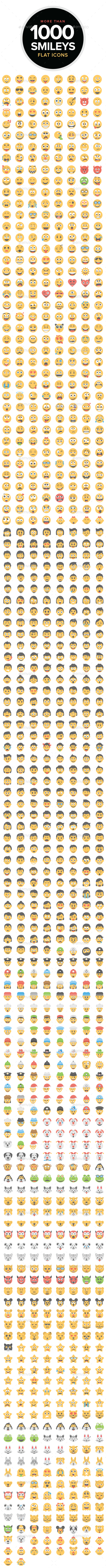 1000 Flat Smiley Icons - Icons