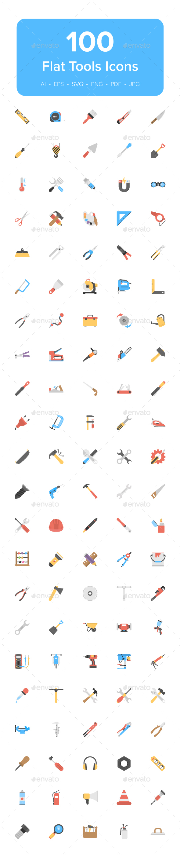 110 Tool Flat Vector Icons - Icons