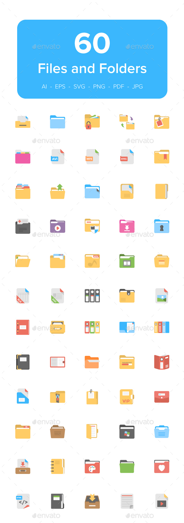 60 Files and Folders Flat Icons - Icons