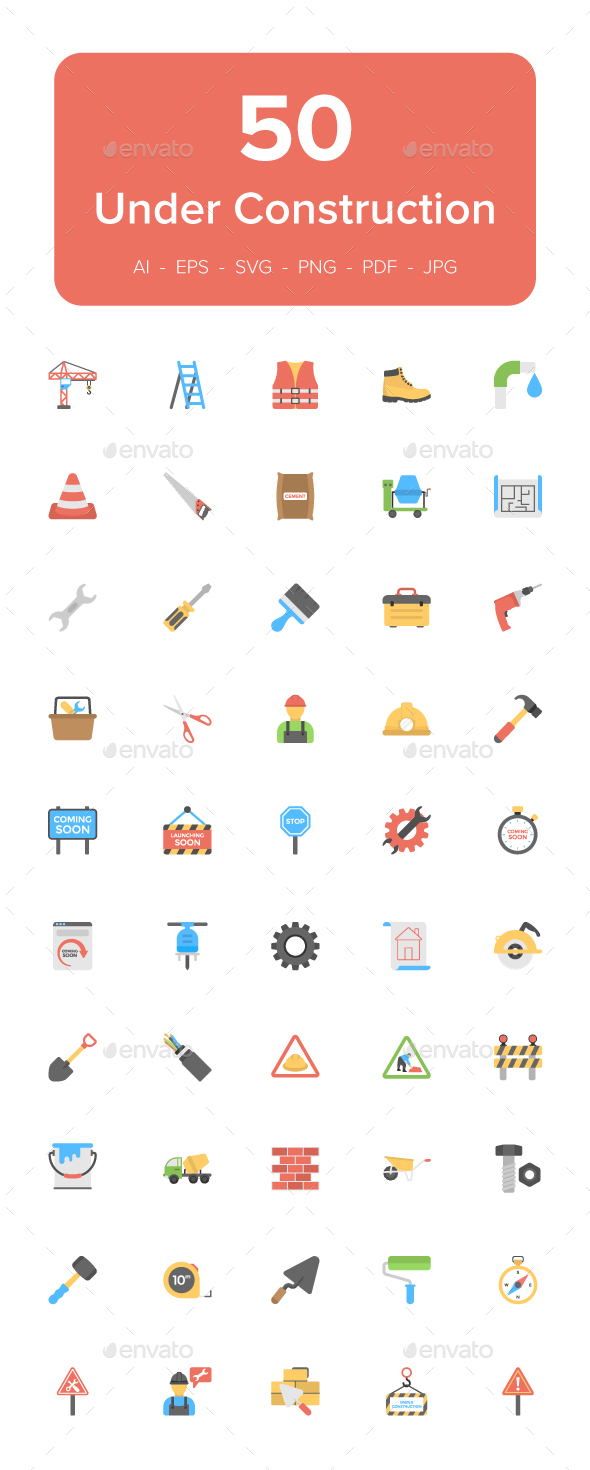 50 Under Construction Flat Icons - Icons