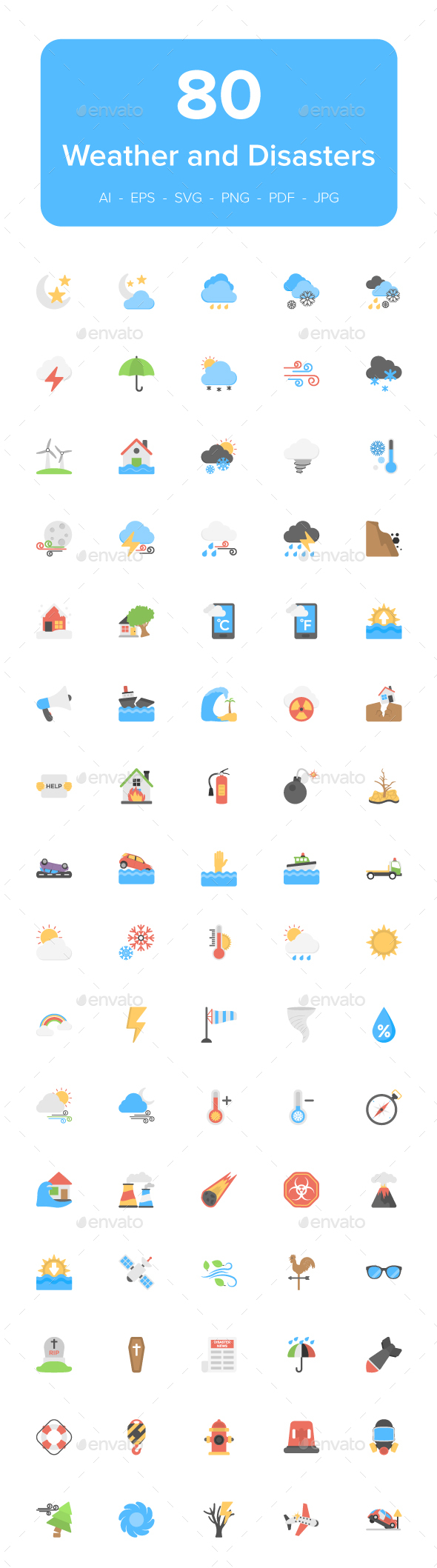 80 Disaster and Weather Flat Icons - Icons