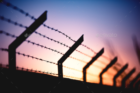 Sunset Behind Wall - Stock Photo - Images