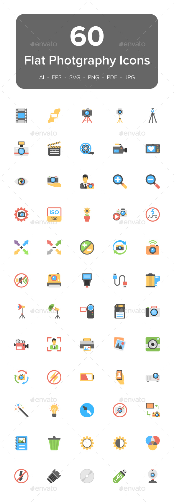 60 Photography Flat Vector Icons - Icons