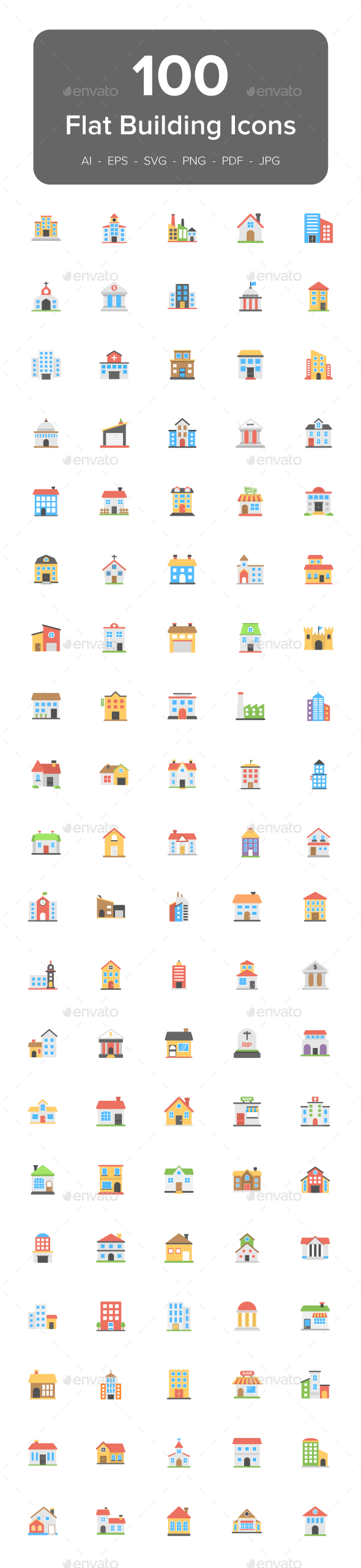 100 Buildings Flat Vector Icons - Icons