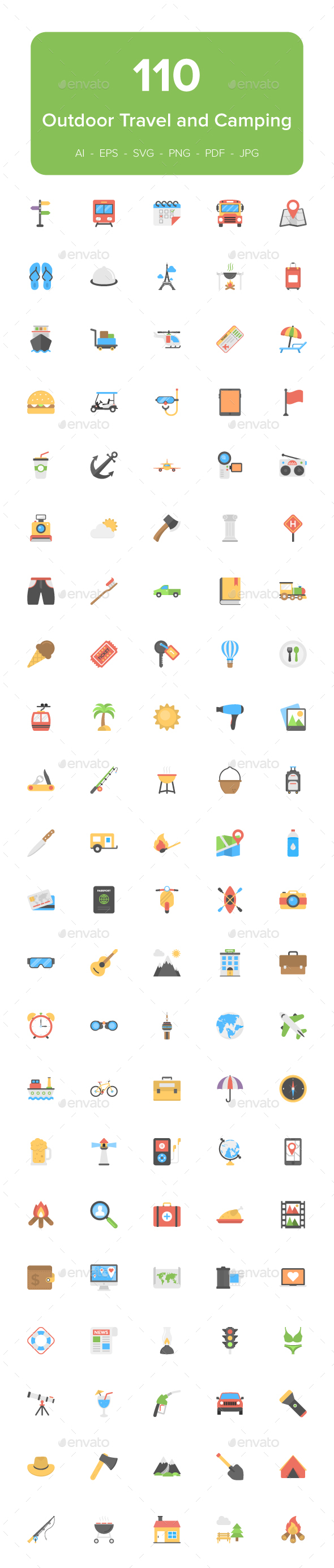 110 Outdoor Travel and Camping Flat Icons - Icons