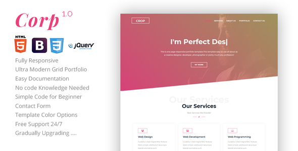 Crop - Personal Portfolio Template - Portfolio Creative mozfry | product landing template (landing pages) Mozfry | Product Landing Template (Landing Pages) 01 preview 590x300 crop