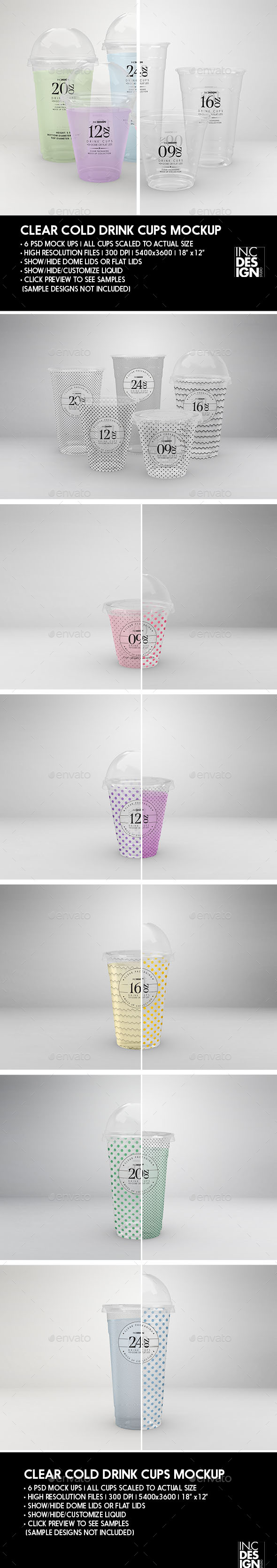 Clear Cold Drink Cups Packaging Mock Up - Food and Drink Packaging