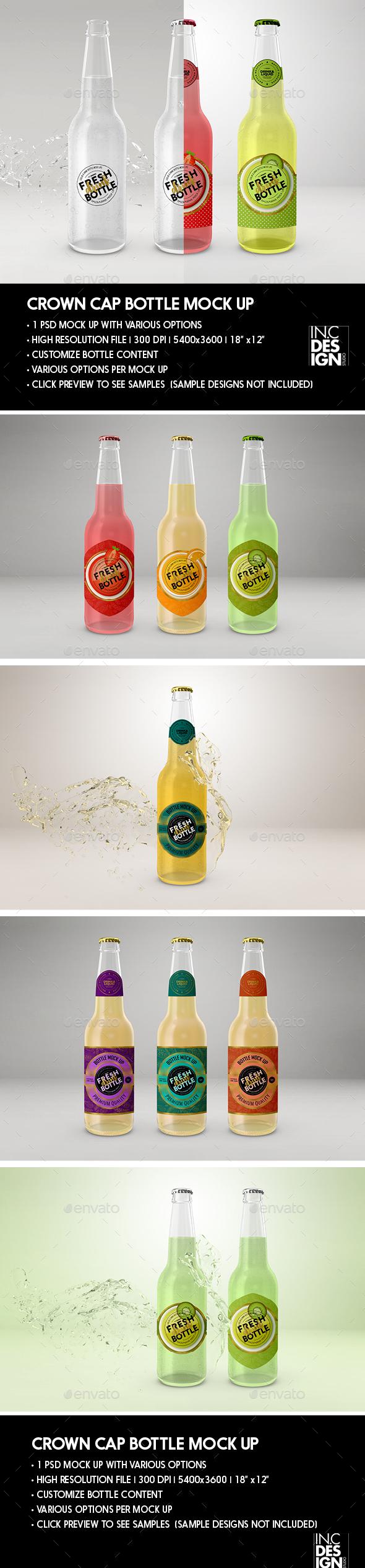 Crown Cork Cap Bottle Packaging Mock Ups - Food and Drink Packaging