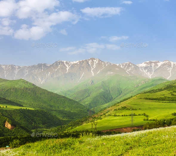 landscape with mountains and sky - Stock Photo - Images