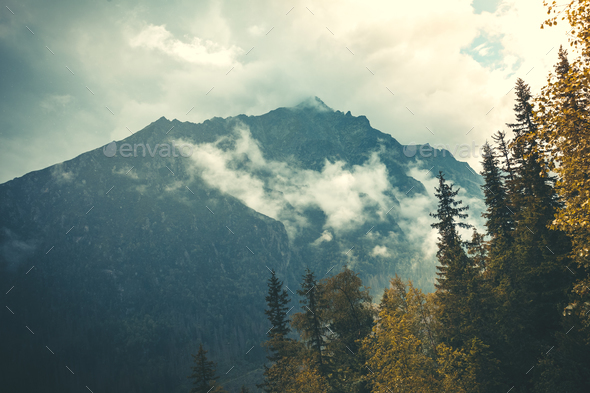 Mysterious landscape. Fog falling on the Tatras. - Stock Photo - Images