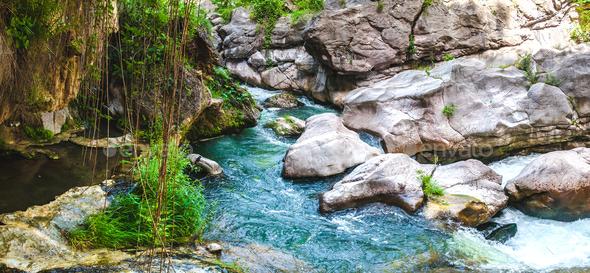 beautiful mountain waterfall - Stock Photo - Images