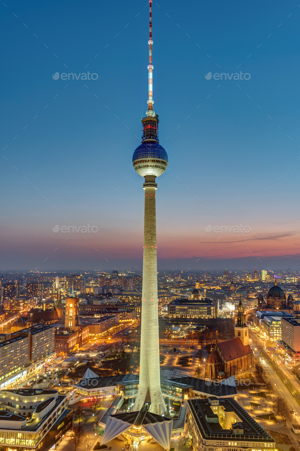 The famous Television Tower and downtown Berlin  - Stock Photo - Images