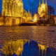 The famous Cathedral and Severi church in Erfurt at dusk - PhotoDune Item for Sale