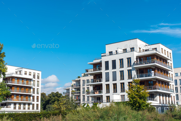Housing development area with new apartment house - Stock Photo - Images