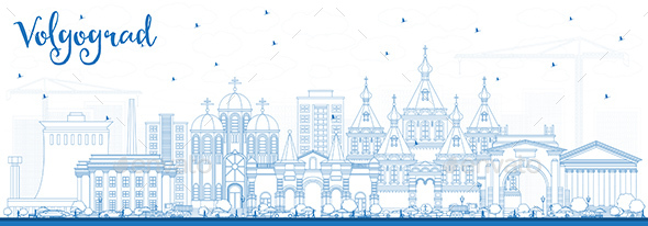Outline Volgograd Russia City Skyline with Blue Buildings - Buildings Objects