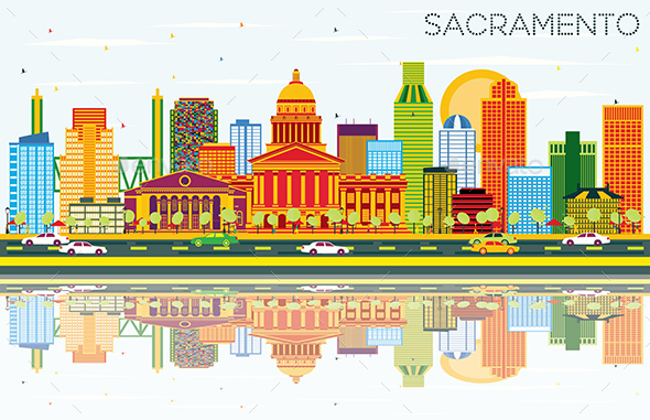 Sacramento USA Skyline with Color Buildings, Blue Sky and Reflections - Buildings Objects
