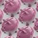 Line of Piggy Banks Goes Bank Full of Coins Conveyor - VideoHive Item for Sale