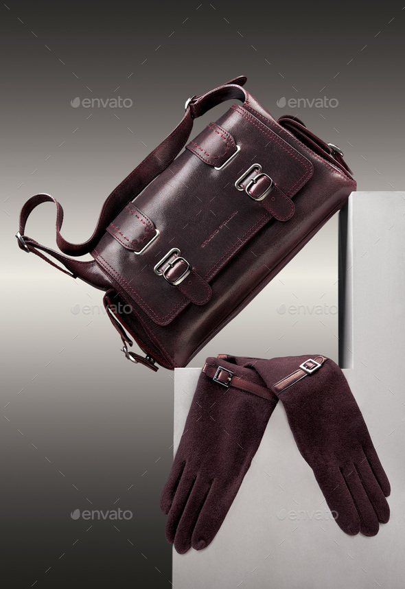 Brown handbag and gloves - Stock Photo - Images