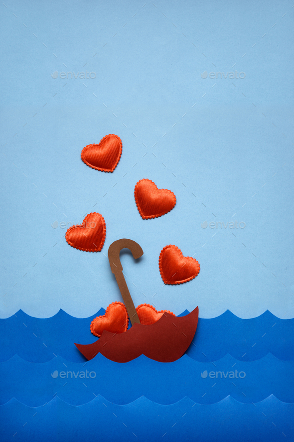 Floating in love sea. - Stock Photo - Images