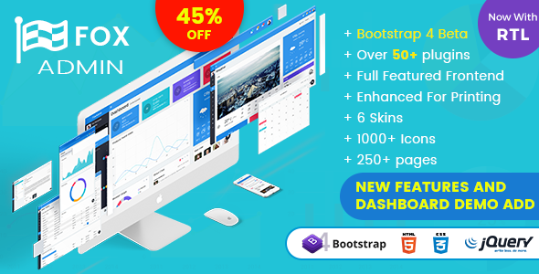 Image of Fox - Multipurpose Bootstrap 4 Admin Dashboard Template UI Framework