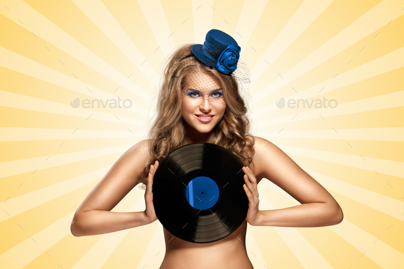 Busty vinyl. - Stock Photo - Images