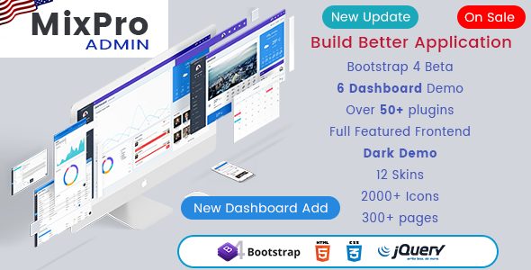 Image of MixPro Admin - Responsive Bootstrap 4 Admin Dashboard Template