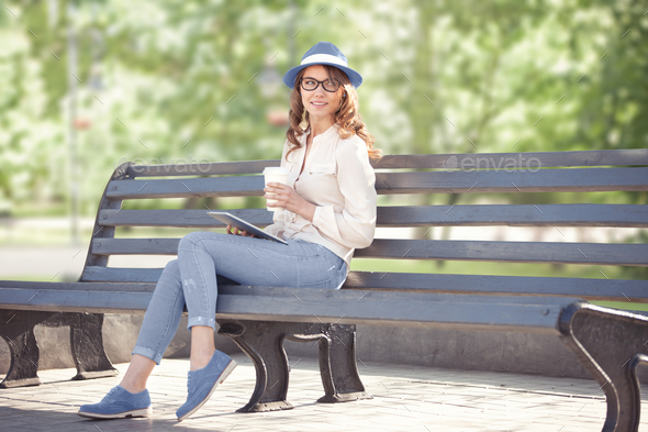 Sitting on the bench. - Stock Photo - Images