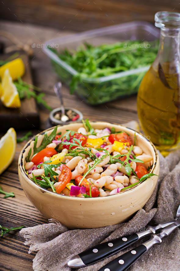 White bean cannellini salad. Vegan salad. Diet menu - Stock Photo - Images