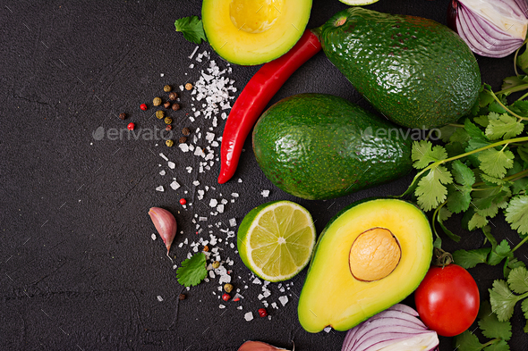 Guacamole sauce ingredients - Stock Photo - Images