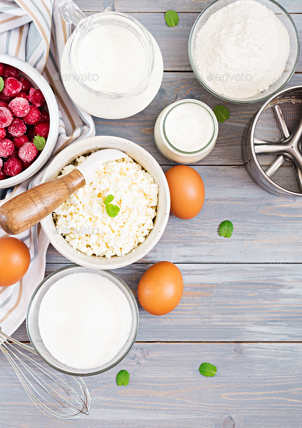 Ingredients for the preparation of cottage cheese casserole with cherries. Tasty breakfast. Top view - Stock Photo - Images