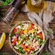 White bean cannellini salad. Vegan salad. Diet menu. Flat lay. Top view. - PhotoDune Item for Sale