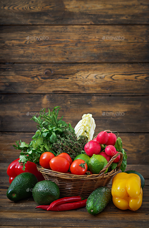 Composition with assorted raw organic vegetables and fruits. Detox diet - Stock Photo - Images