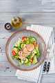 Veal salad with fresh vegetables. Dietary food. Meat salad. Top view. Flat lay. - PhotoDune Item for Sale