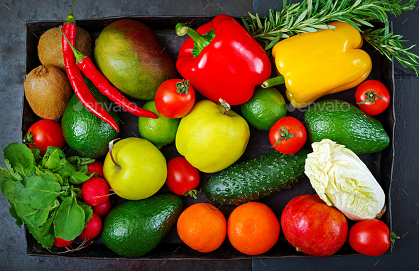 Composition with assorted raw organic vegetables and fruits. Detox diet. Top view - Stock Photo - Images