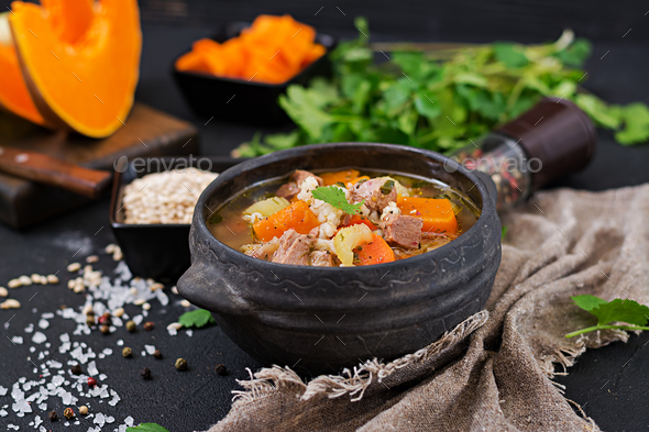 Thick soup with beef, pearl barley, pumpkin and celery. Dietary menu. - Stock Photo - Images