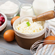 Ingredients for the preparation of cottage cheese casserole with cherries. Tasty breakfast - PhotoDune Item for Sale