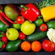 Composition with assorted raw organic vegetables and fruits. Detox diet. Top view - PhotoDune Item for Sale