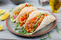 Mexican tacos with beef, beans in tomato sauce and salsa - PhotoDune Item for Sale