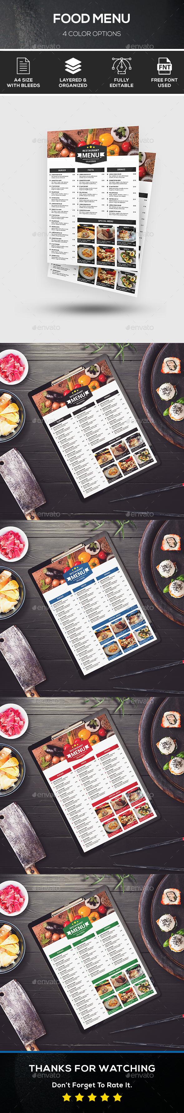 Food Menu - 4 Color Options - Food Menus Print Templates