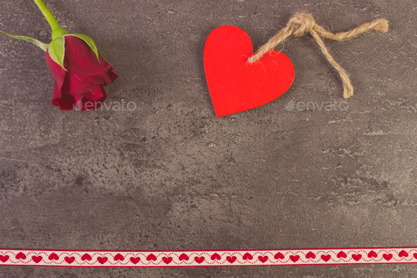 Vintage photo, Decoration of red heart and rose for Valentines Day - Stock Photo - Images