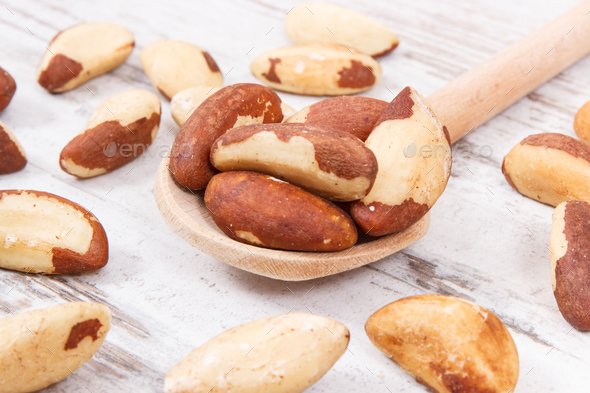Brazil nuts containing natural minerals and vitamin - Stock Photo - Images