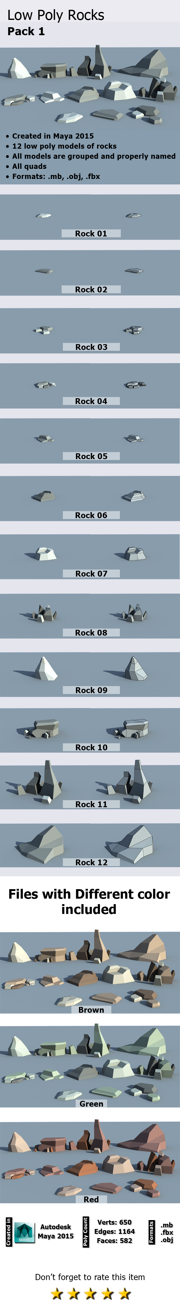 Low Poly Rocks Pack - 3DOcean Item for Sale