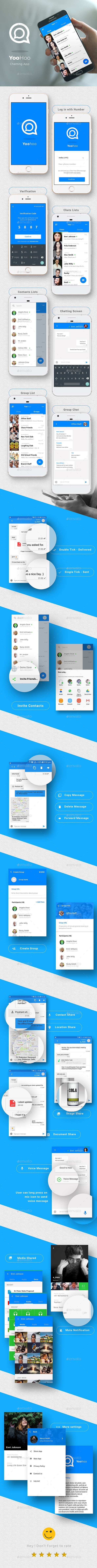 iOS+Android Chatting App UI Set- Modern Design - User Interfaces Web Elements