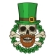 The Skull of Saint Patrick's with Green Hat
