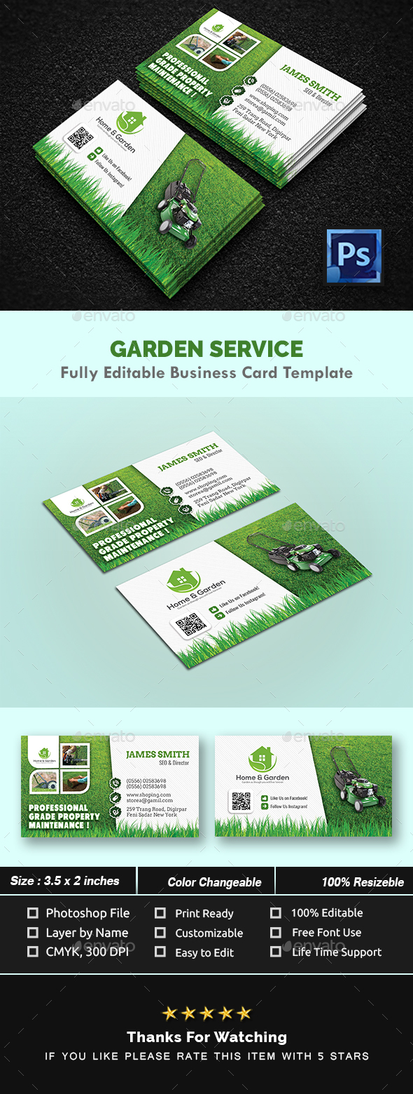 Garden Landscape Business Card Templates By CreativeTouch - Landscaping business card template