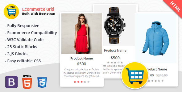 Ecommerce Grid is a Multipurpose Product Showcase HTML Widget - CodeCanyon Item for Sale