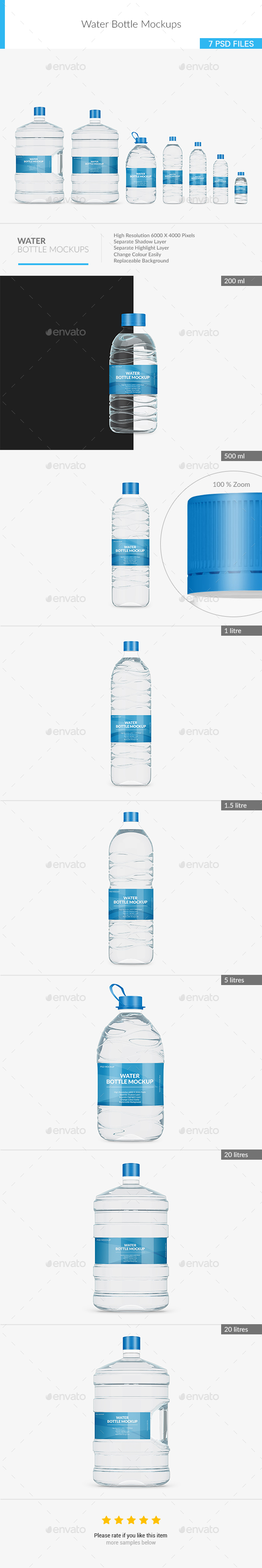 Water Bottle Mockups - Food and Drink Packaging