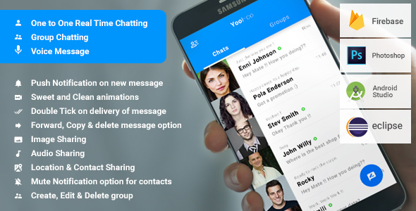 Android Chatting App with Groups and Voice messages -  Firebase | YooHoo - CodeCanyon Item for Sale