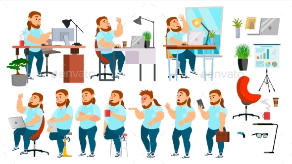 Business Man Character Vector - People Characters