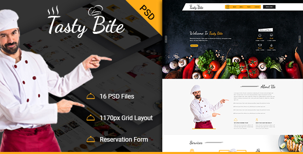 TASTYBITE Food Restaurant PSD Template - Food Retail
